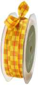 May Arts 1cm Wide Ribbon, Yellow and Red Plaid