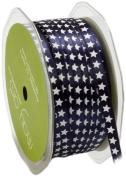 May Arts 0.6cm Wide Ribbon, Navy Satin Stars