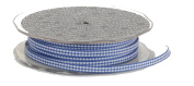 Ampelco Ribbon Company Woven Edge Vichy Cheque 55-Yard Ribbon, 0.5cm , Royal/White