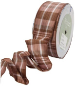 May Arts 3.8cm Wide Ribbon, Brown and Mauve Plaid