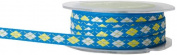 May Arts 1cm Wide Ribbon, Blue and Yellow Argyle