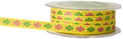 May Arts 1cm Wide Ribbon, Pink and Parrot Green Argyle