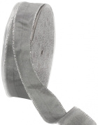 Ampelco Ribbon Company Silver Wired 27-Yard Taffeta Ribbon, 2.5cm , Silver Grey