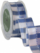 May Arts 3.8cm Wide Ribbon, Blue and Silver Stripes