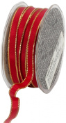 Ampelco Ribbon Company Gold Wired 54-Yard Taffeta Ribbon, 1cm , Scarlet Red