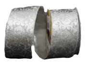 Renaissance 2000 Ribbon, 6.4cm , Silver Velvet with Metallic Silver Design