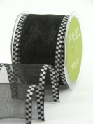 May Arts 2.5cm Wide Ribbon, Black Sheer with Cheque Edge