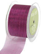 May Arts 5.1cm Wide Ribbon, Fuchsia Sheer Pinstripes