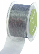 May Arts 5.1cm Wide Ribbon, Pewter Sheer Pinstripes