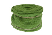 Renaissance 2000 Ribbon, 10cm , Green Burlap with Wire