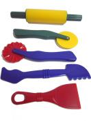 School Smart Plastic Dough Tools - Set of 5 - Assorted Colours