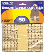 BAZIC Grooved Natural Craft Stick, Wood, 50 Per Pack