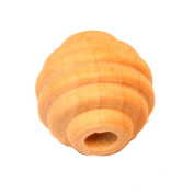 12 - Bead Round Beehive - 1.6cm x 3/16 hole unfinished wood