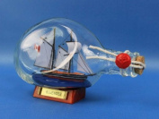 Bluenose Sailboat in a Bottle 18cm - Wood Boat In A Bottle - Decorative Ship In A Glass Bottle - Nautical Decoration - Model Ship In A Bottle - Boat In A Bottle - Sold Fully Assembled - Not A Model Kit