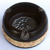 New Thai Carved Mango Wood Ashtray with Elephant Silver Plate and Hemp Rope Diameter 10cm