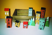 Miniature Wooden Buildings, Trees, and Storage Crate