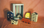 Chunky Little Wooden Houses with Crate