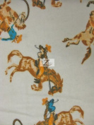 COWBOY PRINT FLANNEL FABRIC - Off White - 110cm WIDTH POLYCOTTON