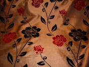 150cm Brown Taffeta W/black/red Floral Velvet By the Yard