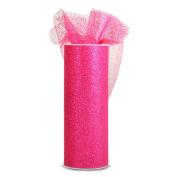 Expo International Glitter Tulle 15cm Fabric Spool, 10-Yard, Fuchsia