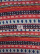 AZTEC/INDIAN PRINT POLAR FLEECE FABRIC - Diamond Colour Stripes - 150cm WIDTH SOLD BY THE YARD