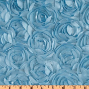 Loveable Satin Ribbon Rosette Ice Blue Fabric