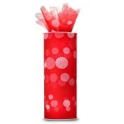 Expo International Polka Dot Flocked 15cm Tulle Fabric Spool, 10-Yard, Red