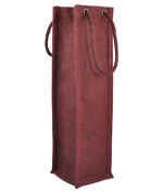 "Burgundy Jute Wine Bags With Rope Handles "" 5 Pack"