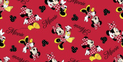 Springs Creative - Fabric Disney Mickey Everyday Minnie Loves Shopping Toss Fabric, Sold by The Yard, 2.5cm , Red