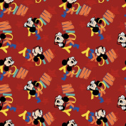Springs Creative - Fabric Disney Mickey Everyday Out to Play Word Toss Fabric, Sold by The Yard, 2.5cm , Red