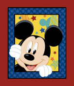 Springs Creative - Fabric Disney Mickey Everyday Out to Play Panel Fabric, Sold by The Yard, 2.5cm , Blue