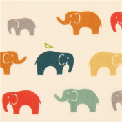 colourful elephants animal organic knit fabric birch USA