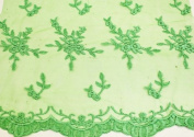 Emerald Green, Embroidery Lace Fabric on Polyester Mesh with Fancy Flower Design 140cm Wide