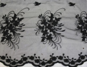 Black, Lace Fabric Embroidery on Polyester Mesh with Floral Style Design 140cm Wide