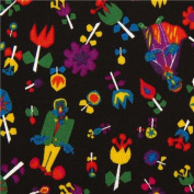 black monsters and flower fabric by Kokka from Japan