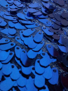 Oval Sequin Fabric - Shiny Drop Sequin on Poly Mesh - ROYAL BLUE 140cm Sold BTY