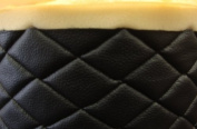Black Quilted Vinyl Fabric with 1cm Foam Backing Upholstery By the Yard