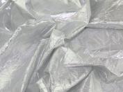 140cm wide Creased Lame Metallic Dress Fabric Silver - per 2 metres
