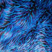 Fake Fur/faux Fur - Black with Blue & Purple Spiked Fabric sold by the 1/3 YARD