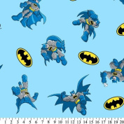 DC Comics Super Friends BATMAN LOGO Sky Blue Fabric (Great for QUILTING, SEWING, CRAFT PROJECTS, THROW PILLOWS & More) 1 Yard x 110cm Wide