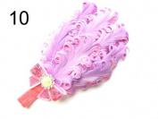 JY Jewellery purple Children Girls Feather Flower Crystal Hair Band Elastic Headband H7-9