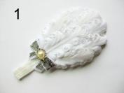 JY Jewellery white Children Girls Feather Flower Crystal Hair Band Elastic Headband