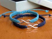 Couple Bracelet Silver Infinity Bracelet Lover Bracelet Boyfriend and Girlfriend Jewellery Blue and Navy Blue Bracelet Anniversary Bracelets