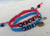 Couple Bracelet Lock and Key Bracelets, His and Hers Bracelets,hand Weaving Bracelet Wedding Gift, Red and Blue Hand Weaving Bracelet, Boyfriend Girlfriend Jewellery, Anniversary Gift
