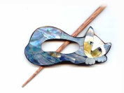 Buttons.etc Exotic Shawl Pins, 41001 - Inlaid Mother of Pearl Cat