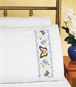 Janlynn Pillowcase Pair Stamped Cross Stitch (50cm X 80cm ) - Butterfly Garden