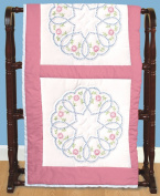 Jack Dempsey Needle Art 73233 Starburst of Hearts Quilt Blocks, 6 Quilt Blocks, 46cm -by-46cm , White