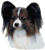 Papillon Dog Portrait Counted Cross Stitch Pattern