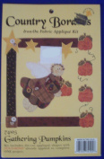 Gathering Pumpkins Country Border Iron on Fabric Applique Craft Kit