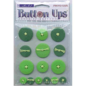 Button Ups Adhesive Button Embellishments GREEN For Scrapbooking, Card Making & Craft Projects